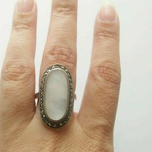 Vintage sterling silver pearl marquisite deco ring